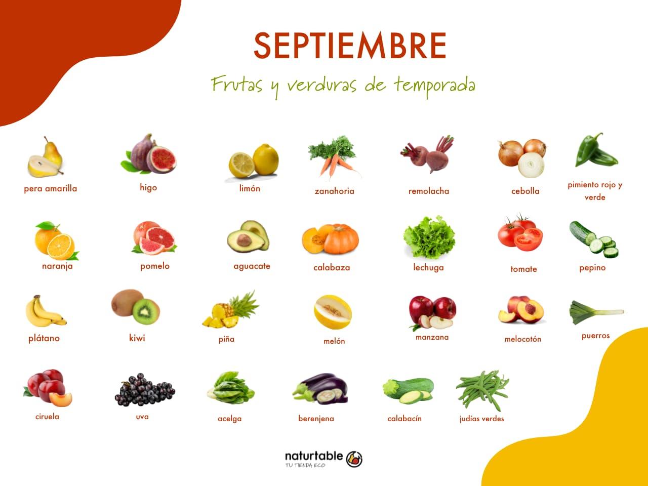 frutas y verduras de temporada: septiembre
